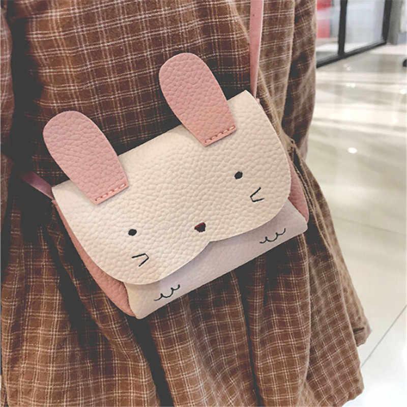 2019 nova venda quente meninas pu moeda bolsa bolsa carteira crianças coelho um ombro bolsa pequena moeda mudança carteira crianças saco
