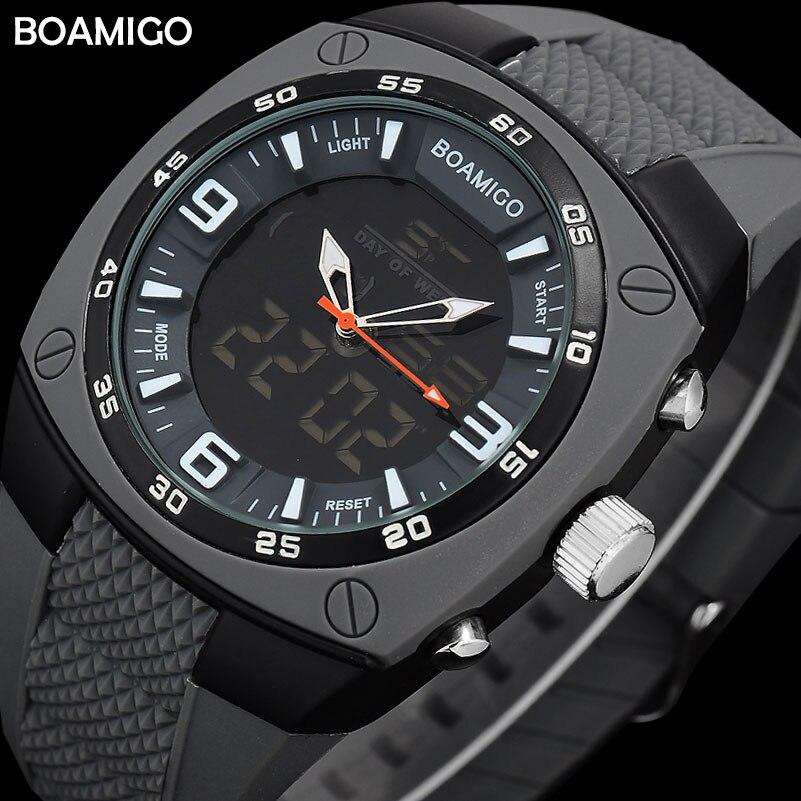 Männer sport dual display uhren rubber starp BOAMIGO mann digitalen analog LED armbanduhren wasserdicht mode quarzuhr reloj
