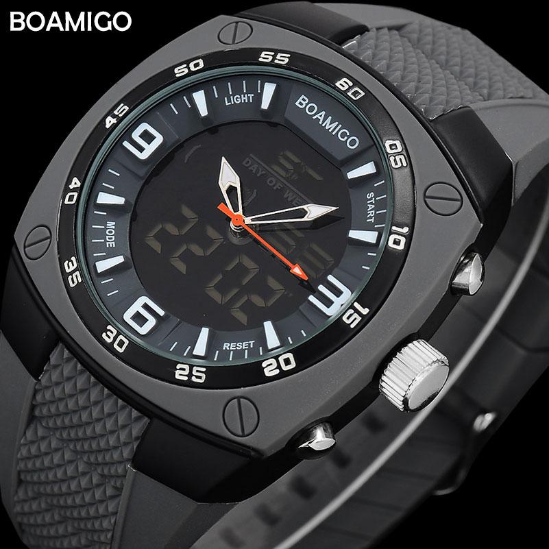 Uomo sportivo doppio display orologi cinturino in gomma BOAMIGO uomo analogico digitale LED orologi da polso impermeabile moda orologio al quarzo reloj