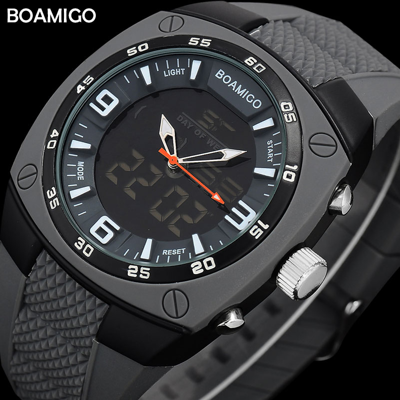 men sports dual display watches rubber starp BOAMIGO man digital analog LED wristwatches waterproof fashion quartz clock reloj boamigo men sports watches brown leather band man military quartz led digital analog casual wristwatches waterproof reloj hombre