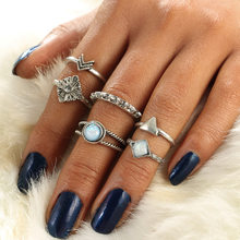 Vintage Knuckle Ring Set For Women Men Crown Totem White Stone Moon Middle Finger Rings Retro Silver Color Jewelry(China)