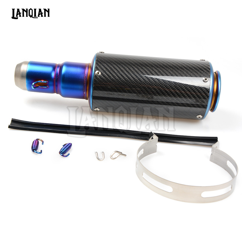 Universal Carbon Fiber Motorcycle Scooter Modified Exhaust Muffler Pipe For YAMAHA YBR125 VAMX YZF R3 R6 R1 R25 MT07 09 free shipping carbon fiber id 61mm motorcycle exhaust pipe with laser marking exhaust for large displacement motorcycle muffler page 6
