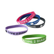 TYPE 1 & TYPE 2 DIABETIC Silicone Rubber Medical Alert Emergency ID Wristband Bracelet For Women Men