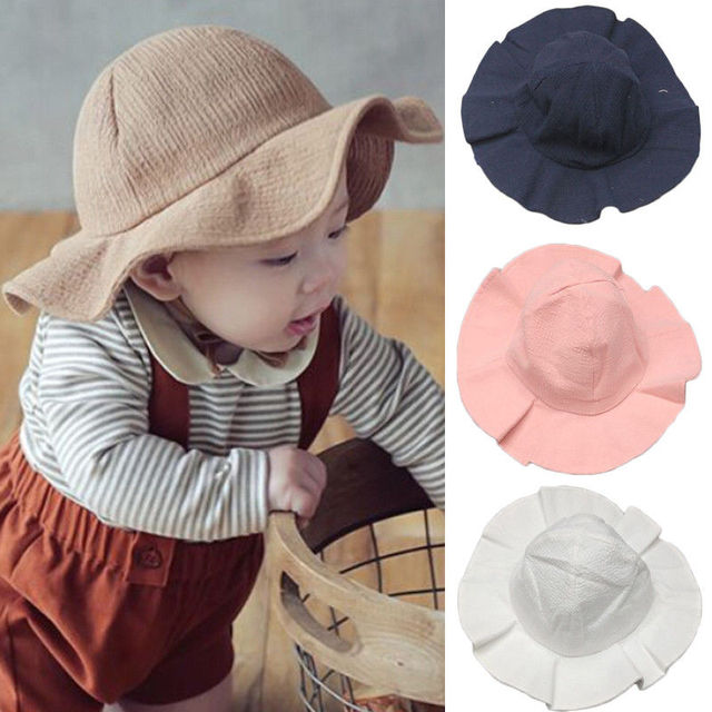 9b04f37b5 Sun Hat Adorable Solid Toddler Infant Kids Sun Cap Summer Outdoor Baby  Girls Boys Sun Beach Cotton Hat-in Hats & Caps from Mother & Kids on ...