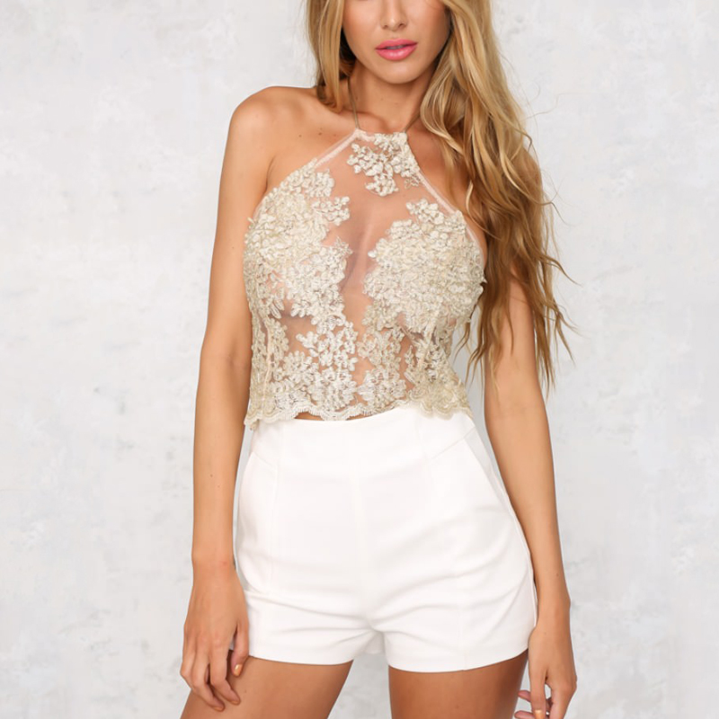 469c76af1bb קנו צמרות וtees | Summer Women Lace Crop Tops Embroidery White ...