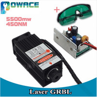 5500MW 450NM High Power Focusing Blue Laser Module laser Engraving and Cutting TTL module 5500mw Laser Tube +Safety Goggles