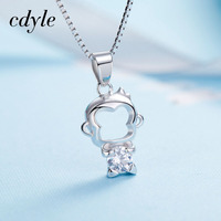 Cdyle Necklace Women Pendant S925 Sterling Silver Jewelry Monkey Shape Austrian Rhinestone Paved Elegant Valentine S