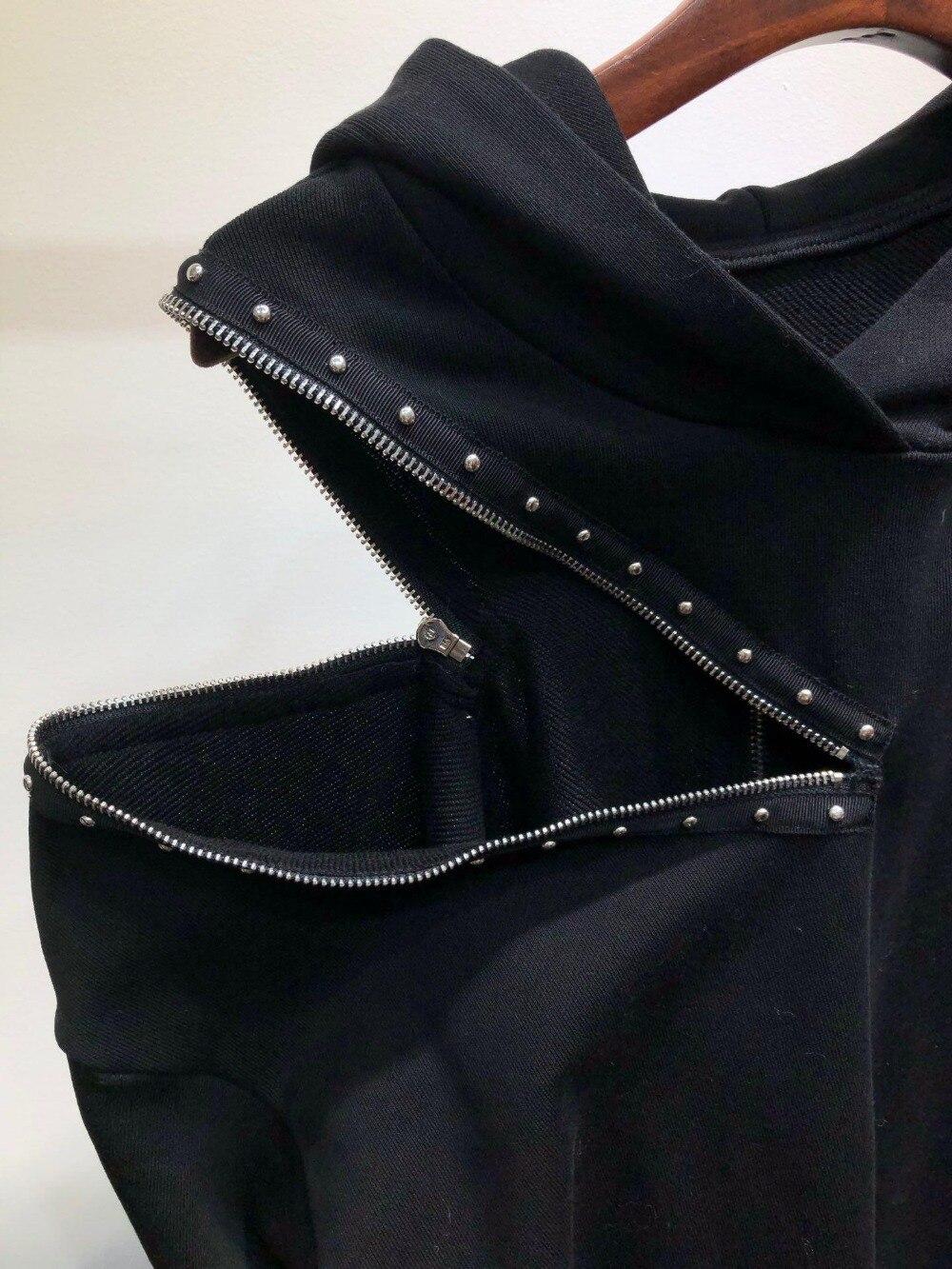 Nail Piste Longues Décontracté À 2019 Pull Zippée Spring Mode Manches Sweat amp; Lady De Femmes Hoodies 0307 Noir A4085q0