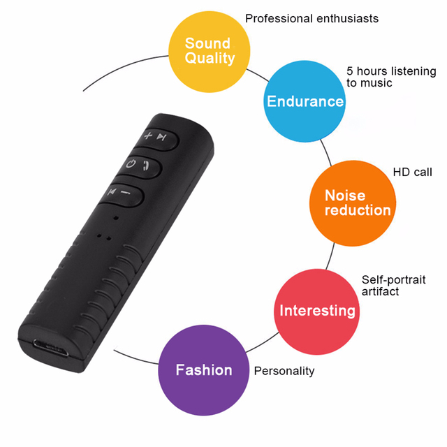 Hands free Bluetooth Car Kit Universal 3.5mm jack Music Audio Receiver Adapter Speaker Stereo with Auto AUX Kit