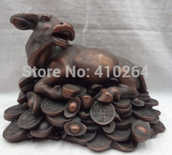 """10"""" Chinese Pure Bronze Year Zodiac Wealth YuanBao Coin Strong Bull Ox Statue