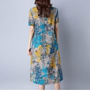 2019 Vestido de Verão de Linho de Algodão Mulheres Soltas Plus Size Vestido Casual OL work Wear Vintage print beach Sundress dresses vestidos 1