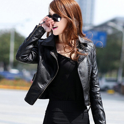 Fashion Women Lady Slim Faux Leather Short Punk Jacket   Coat   Motorcycle Outwear