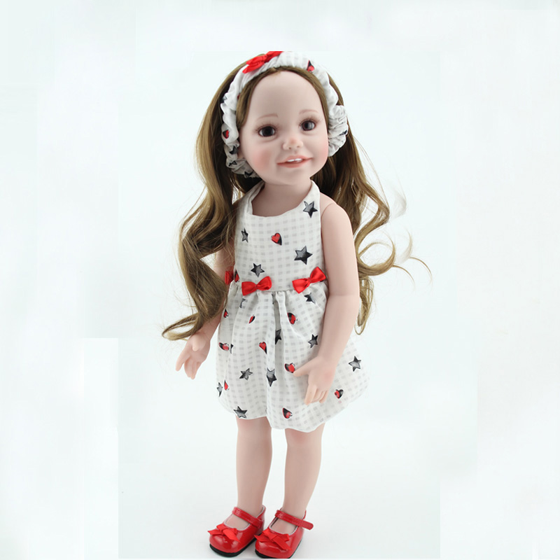 NEW American girls doll full vinyl girl Princess doll Beautiful dress reborn Lifelike toy 18 Inch/45 cm Perfect birthday gift lifelike american 18 inches girl doll prices toy for children vinyl princess doll toys girl newest design