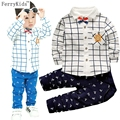 2016 New Baby Boy Clothes Set Cotton Shirt + Pants Spring Autumn Infant Clothing Baby Boy Clothing Set Baby Gentleman Suit