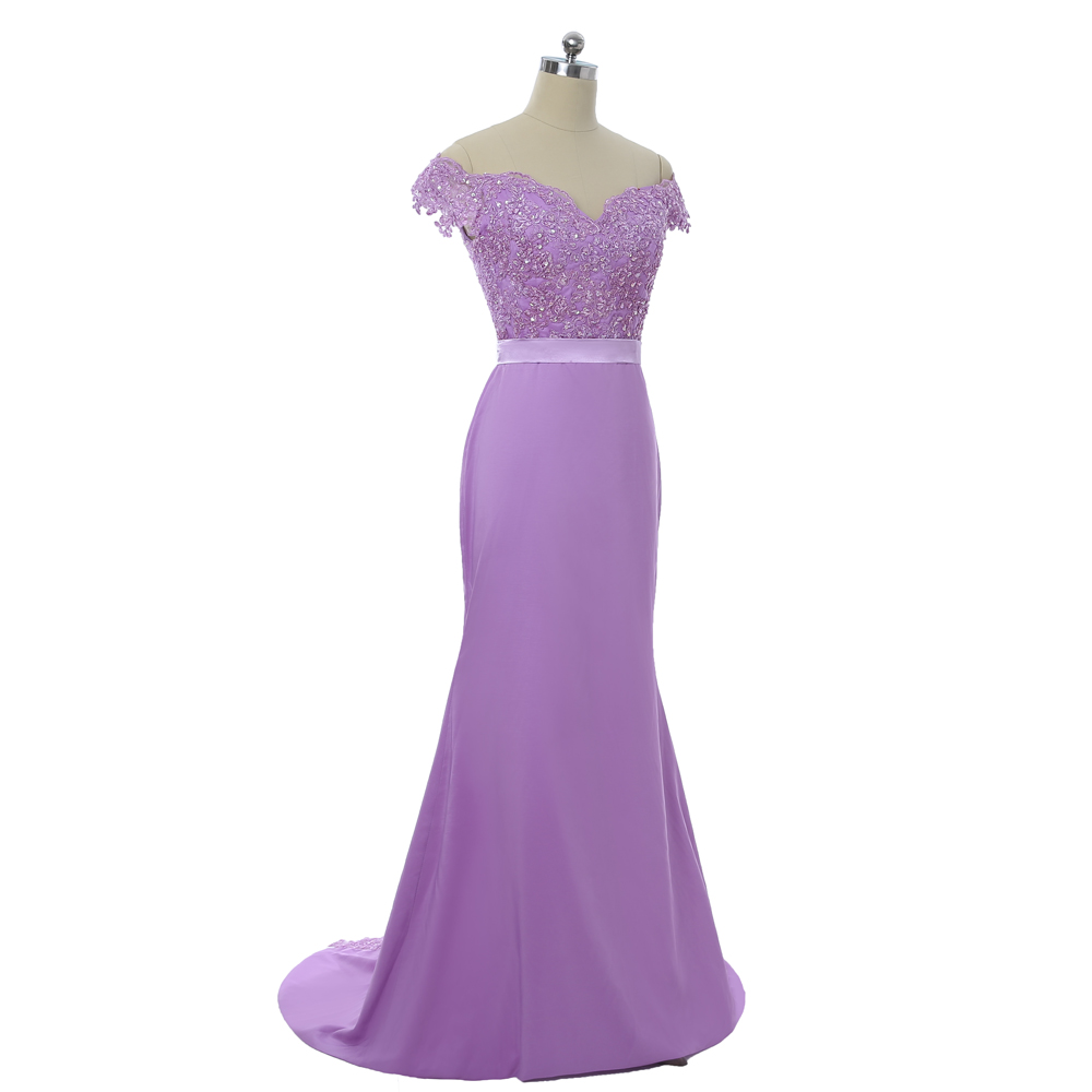 Lavender 2019 Bridesmaid Dresses Cheap Under 50 Mermaid Deep V-neck Cap  Sleeves Lace Beaded Long Wedding Party Dresses 991632c2a080