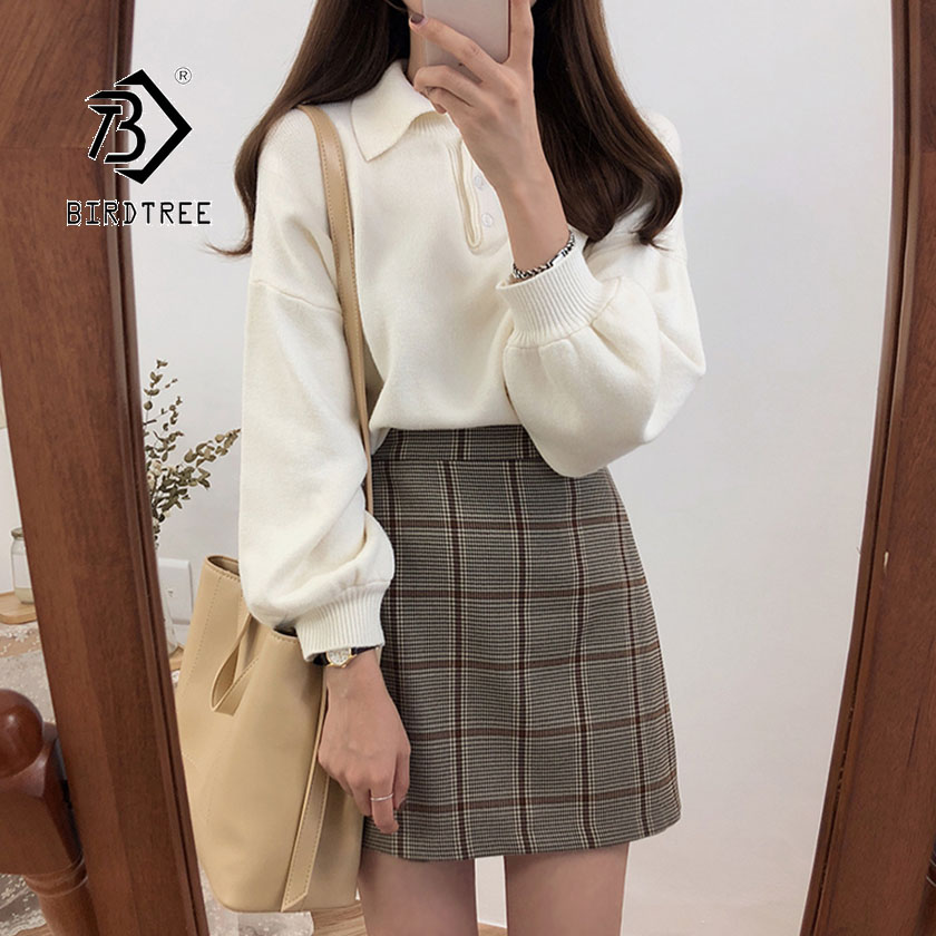 2019 Autumn New Women's Pullovers Sweater Turn-down Collar Full Lantern Sleeve Button Design Solid Korean Casual Tops T97322D