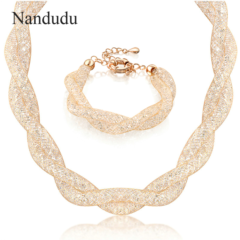 Nandudu New Arrival Luxury Wire Mesh Austrian Crystal Necklace Bracelet Jewelry Sets for Women Girl Wedding Jewelry Gift N358 nandudu fashion necklace rose wire mesh flower crystal pearl pendant necklaces gift for women cn165