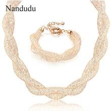 Nandudu nueva llegada lujo Alambres malla cristal austriaco collar pulsera Juegos de joyería para las mujeres boda joyería regalo n358