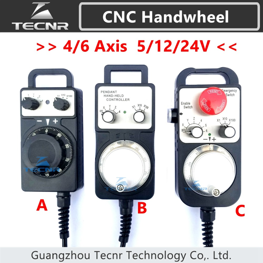 4 6 Axis MPG Universal Pendant Handwheel manual pulse generator 5V 12V 24V with Emergency Stop for cnc router machine4 6 Axis MPG Universal Pendant Handwheel manual pulse generator 5V 12V 24V with Emergency Stop for cnc router machine