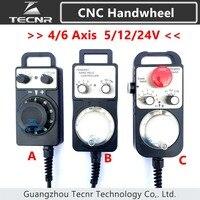 4 6 Axis Pendant Handwheel manual pulse generator 5V 12V 24V MPG Pulse 100 for cnc router machine