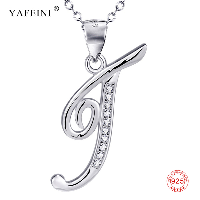 925 Sterling Silver Jewelry A Pendant Necklace Letter T Charm Silver