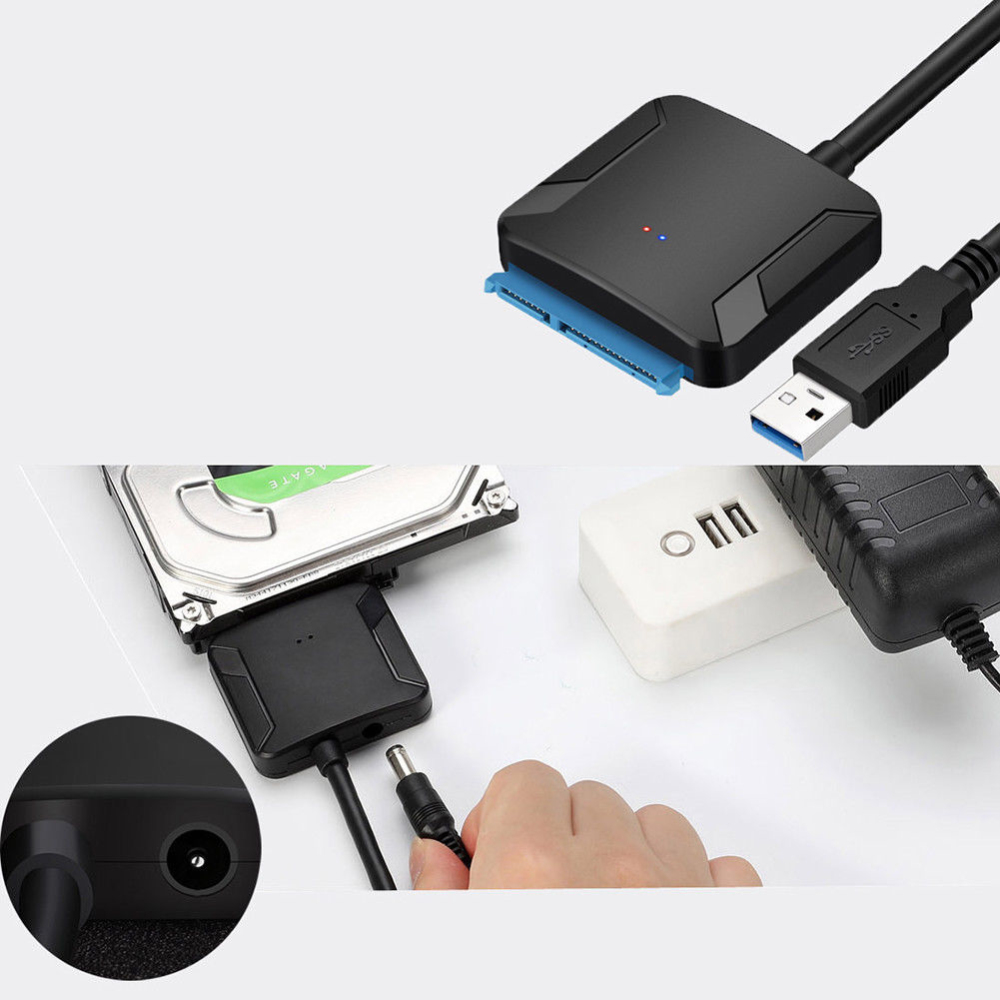"""USB 3.0 SATA Adapter Cable 3.5/"""" HDD External Converter UASP With Power Adapter"""
