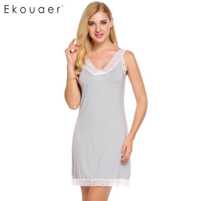 84b433a691 Ekouaer Ladies Sexy Nightdress Sleepwear Dress Solid Sleeveless V Neck  Luxury Cozy Nighties Nightgown Womens Lace Nightwear