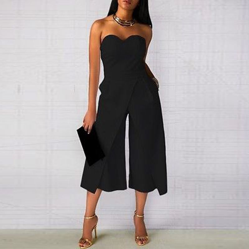 Women Summer Office Lady Rompers Womens Sexy Clothes off shoulder One piece pants White Black Ladies Jumpsuit