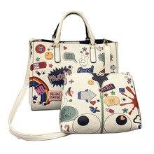Bolso Del Diseño de Marca de lujo Mujeres Graffiti Impresión de Hombro Del Totalizador Bolsa Compuesto 2 ps Bolsa de Mensajero de Dibujos Animados Grandes Ojos MAQUILLAJE WB394