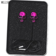 MLLSE Halloween Cool Metal Skull In ear Earphones Stereo Earbuds Phone Game Headset for Iphone Samsung