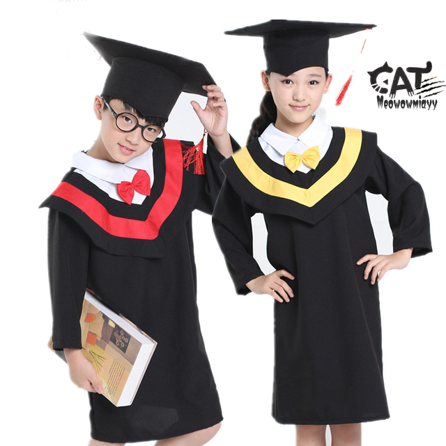 Graduation gowns children 2017 spring kids clothes 2pcs Doctorial ...