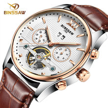 Tourbillon Automatic Watch Men BINSSAW Brand Business Watch Gift Sport Brown Leather Roman Numerals Pierced Openwork Watches