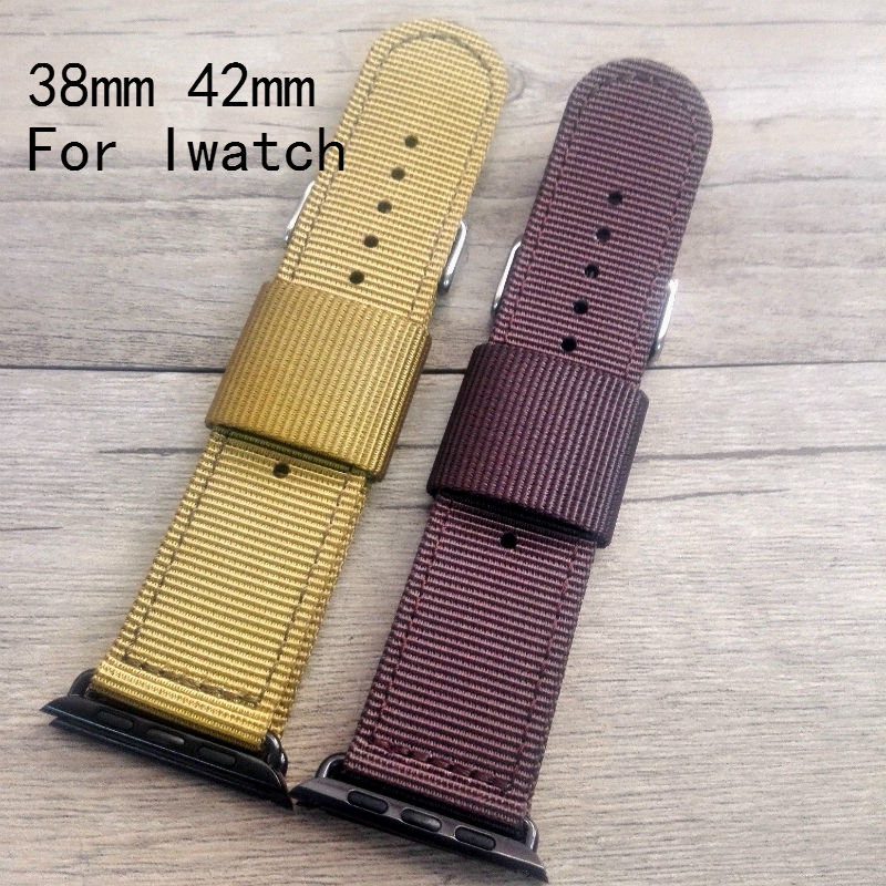 Canvas Nylon Sport Green Brown 38MM 42MM Apple WatchBand, Iwatch Strap Bracelet ,With Apple Watch Adapter,Free Shiping survival nylon bracelet brown