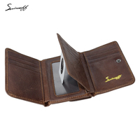 SMIRNOFF Vintage Men Genuine Leather Wallet With Coin Pocket And Photo Holder Purse Bag Short Luxury