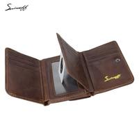 SMIRNOFF Vintage Men Genuine Leather Wallet With Coin Pocket And Photo Holder Purse Bag Short Luxury