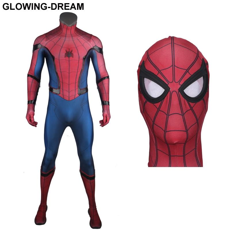 Высокое качество выпускников Человек паук Косплэй костюм с облегчением паук для мужчин Tom Человек паук костюм для человека с U молния