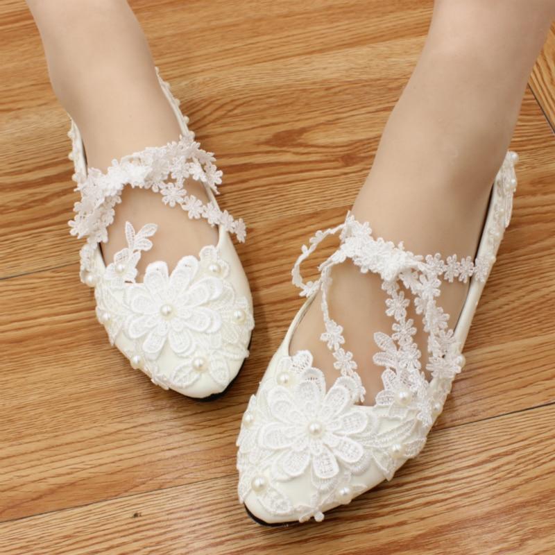 Cordón blanco de dama de honor Planos hechos a mano Zapatos de Boda Rhinestone n