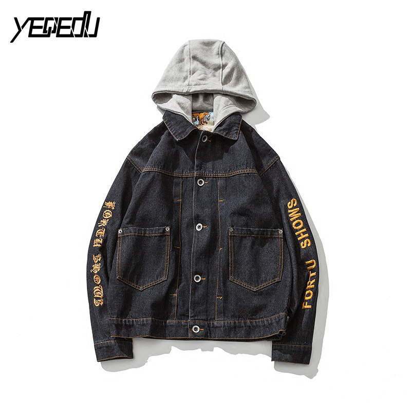 #3442 Hat detachable Black denim jacket men Hip hop Streetwear Hooded Embroidery Mens jackets and coats Loose Veste jeans homme