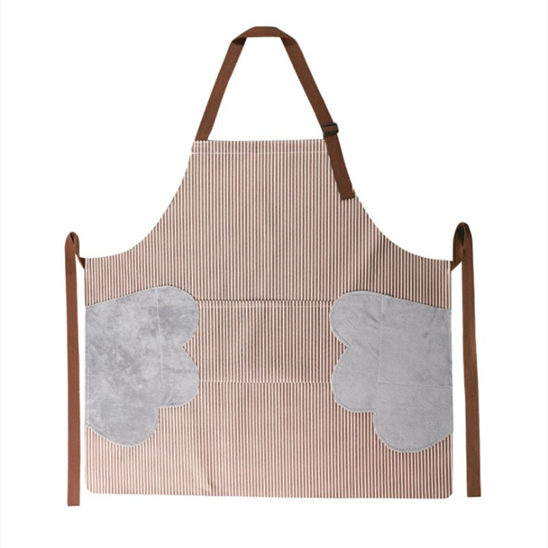 Image 5 - Abrasion Hand Apron Waterproof And Oil Proof Striped Apron Female Chef Adjustable Baking Accessories Commercial Restaurant-in Aprons from Home & Garden