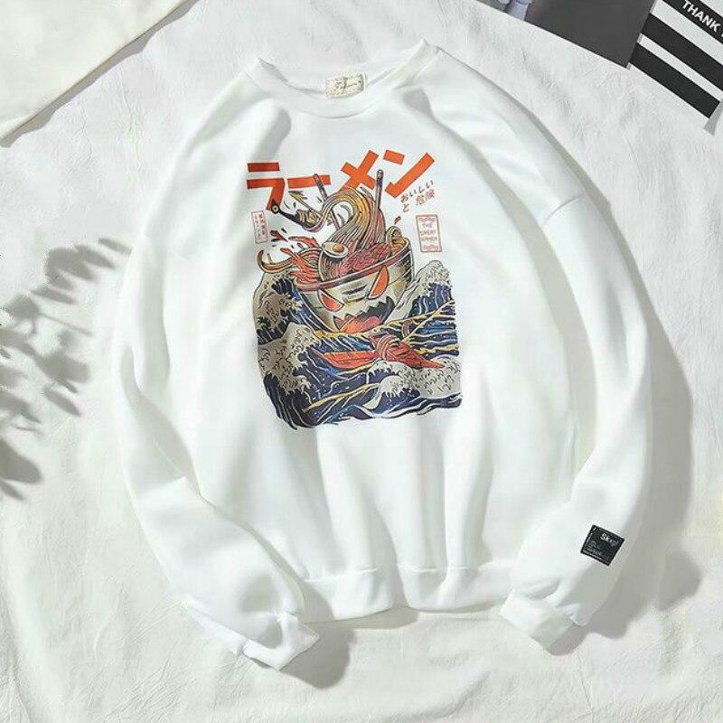 Japanese Funny Noodle Wave Printed Fleece Hoodies Men Harajuku 2019 Spring Japan Style Hip Hop Casual Sweatshirts Streetwear