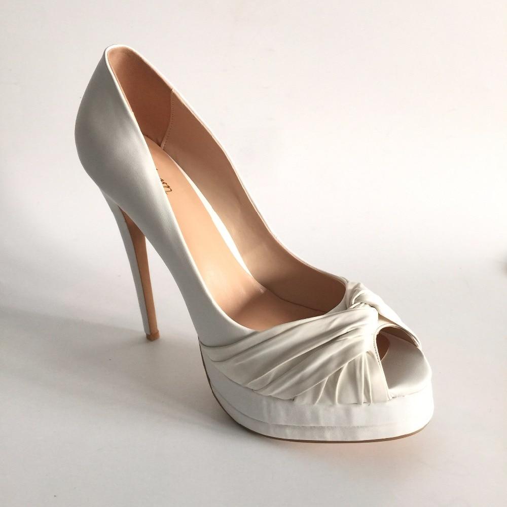 Elegáns esküvői cipők Peep Toe Slip-on platform High Heels - Női cipő