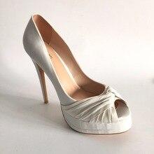 Elegante Hochzeit Schuhe Peep Toe Slip-on Plattform High Heels Pumpe weibliche Schuhe Super Heels Plus Größe 14 benutzerdefinierte Farben