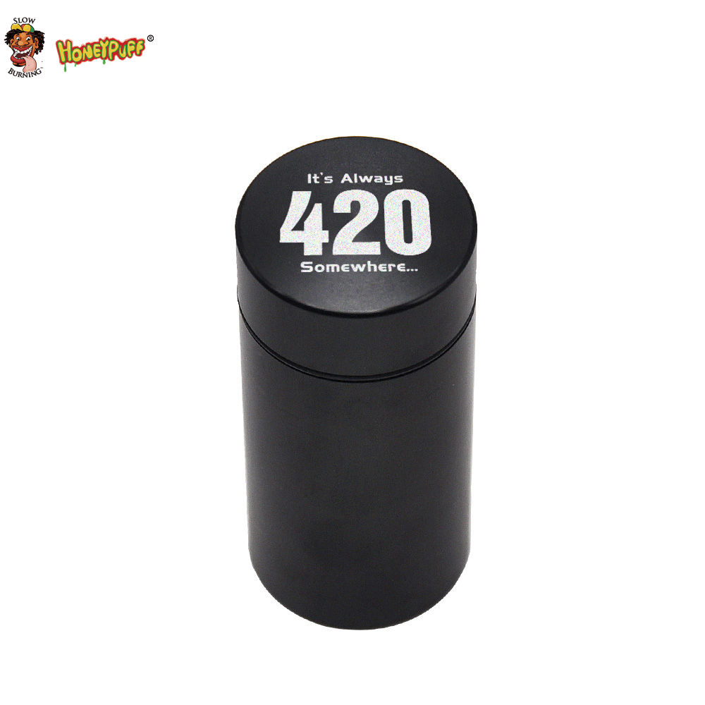 HONEYPUFF Hliníkový stash Jar Vodotěsný gumový hermeticky uzavřený herb / tabák Kontrola zápachu Kontejner Skladování Stash Can