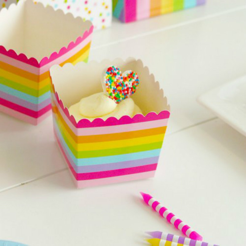 12pcs Colorful Rainbow Stripes Popcorn Box Candy Snack Favor Wedding Gift Bags Kids Movie Boxes Birthday Party Favors Supplies image