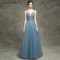 Long dress for wedding party for woman2019 new tulle beaded sexy neck backless ALine gray blue bridesmaid dress long custom
