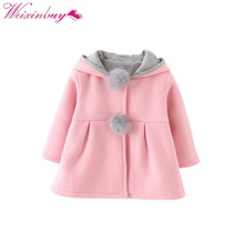 Children Clothing Baby Tops Girl Coats Cute Rabbit Ear Hooded Girls Coat Autumn Winter Warm Kids Jacket Outerwear 1-4T girl autumn winter sweater coat girls cute cartoon tops coats children sweaters hooded thick jacket for 3 5 6 8 10 12 14 years