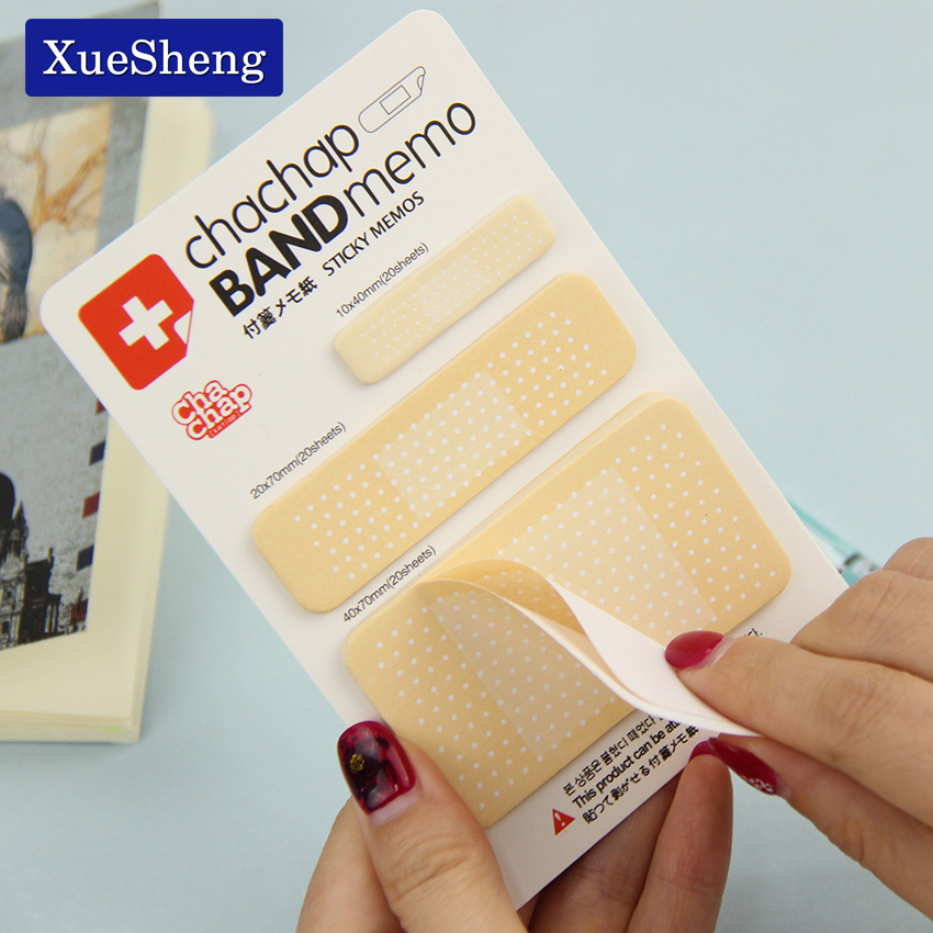 1PC Band Aid Series Memo Pad Stickers Sticky Notes Paper Notepad Kawaii Stationery Office Papeleria 1 pc watercolor geometry memo pad paper sticky notes notepad post it stationery papeleria school supplies