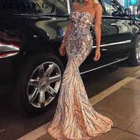 Gold Sequined Mermaid Long Evening Dress 2019 Sweetheart Floor Length Red Carpet Prom Dresses Women Maxi Formal Party Gowns