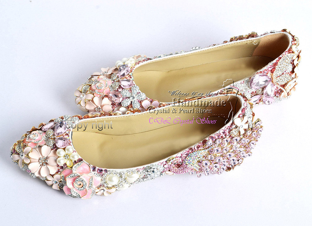 Flat wedding shoesnew elegant customized handmade Pink rhinestone ...