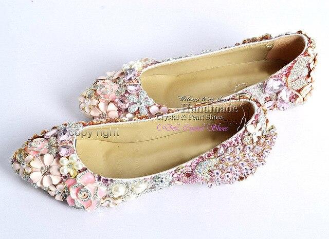 Flat wedding shoesnew elegant customized handmade Pink rhinestone ...